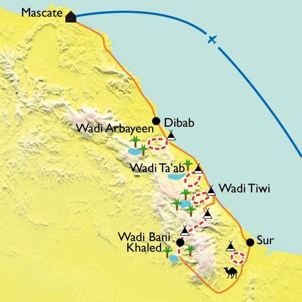 [KEY_MAP] - Oman - Canyons et wadis du Jebel Hajar