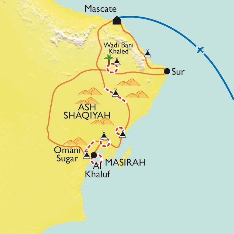 [KEY_MAP] - Oman - Du désert à l'océan, des Wahibas à Sugar Dunes
