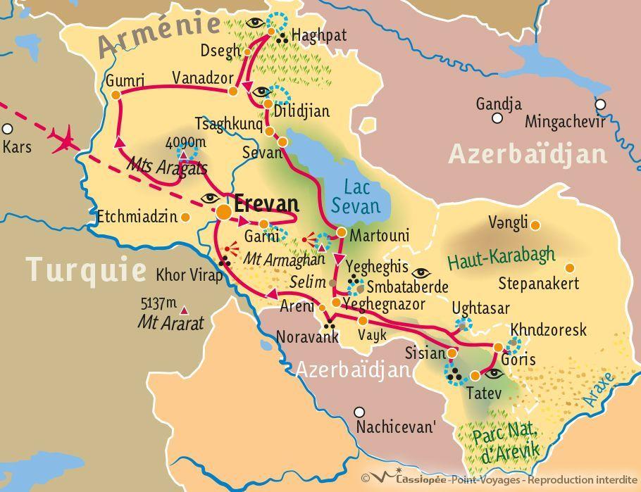 [KEY_MAP] - Arménie - Randonnées culturelles : l'Arménie du Nord au sud