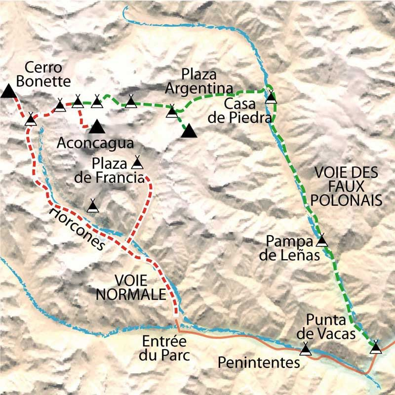 [KEY_MAP] - Argentine - Ascension de l'Aconcagua (6959m) par la voie normale
