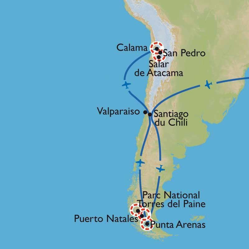 [KEY_MAP] - Argentine/Chili - Des glaciers de Patagonie au désert d'Atacama