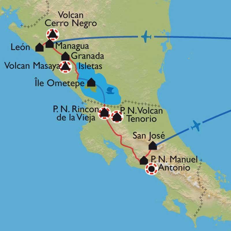 [KEY_MAP] - Nicaragua/Costa Rica - Entre cités coloniales, volcans et côte Pacifique