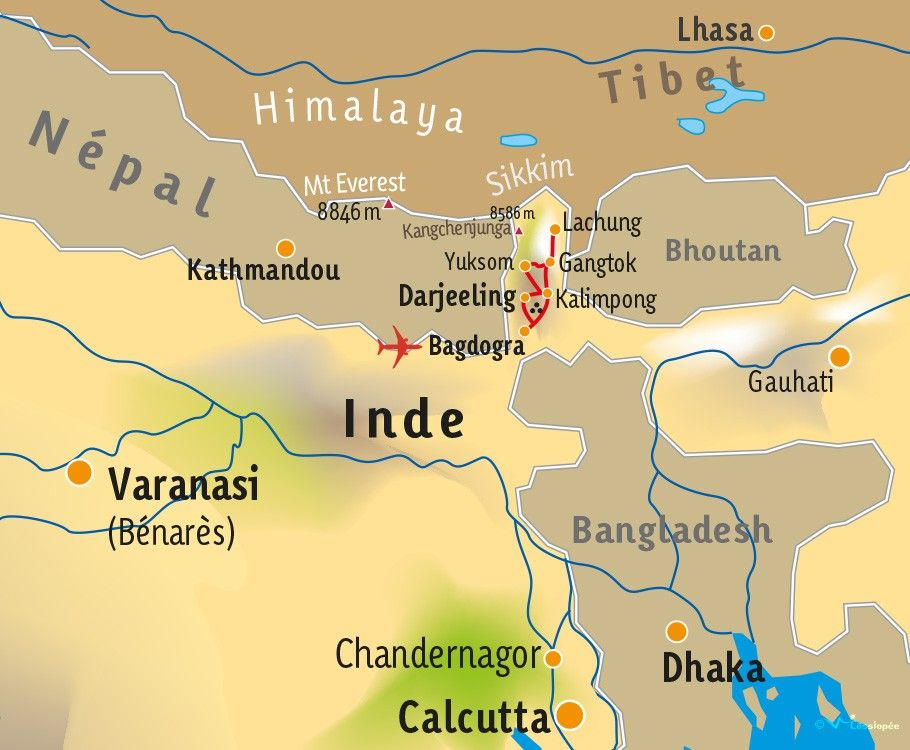 Carte Inde Sikkim.Inde Sikkim Sikkim Et Darjeeling