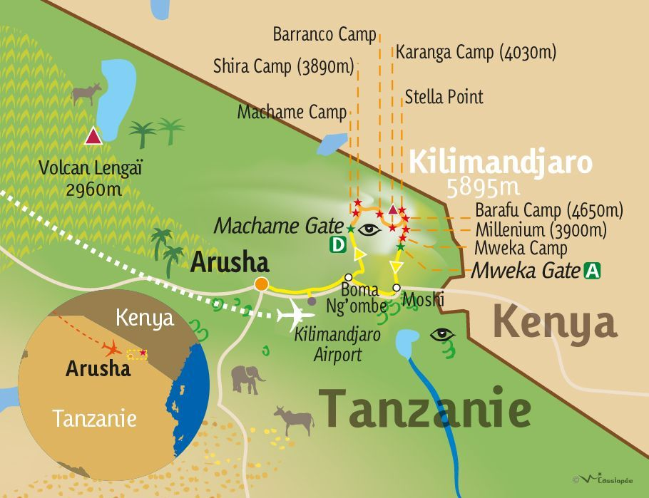 [KEY_MAP] - TANZANIE - L'ascension du Kilimandjaro par la voie Machame