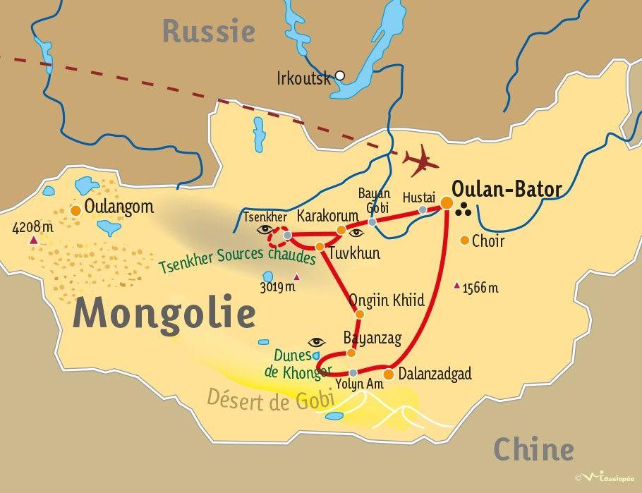 [KEY_MAP] - MONGOLIE  - Panorama mongol : du désert de Gobi aux steppes du Khangai