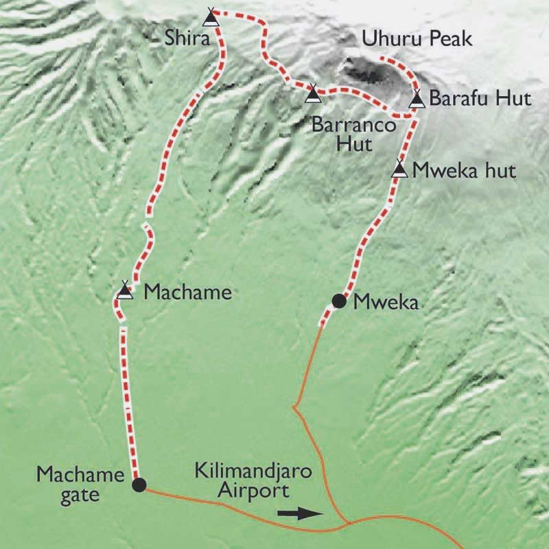 [KEY_MAP] - Tanzanie - Ascension du Kilimandjaro, voie Machamé