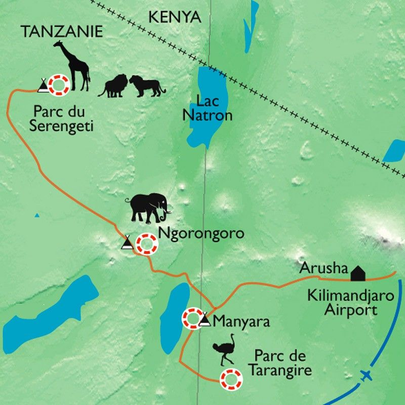 [KEY_MAP] - Tanzanie - Safari dans les grands parcs