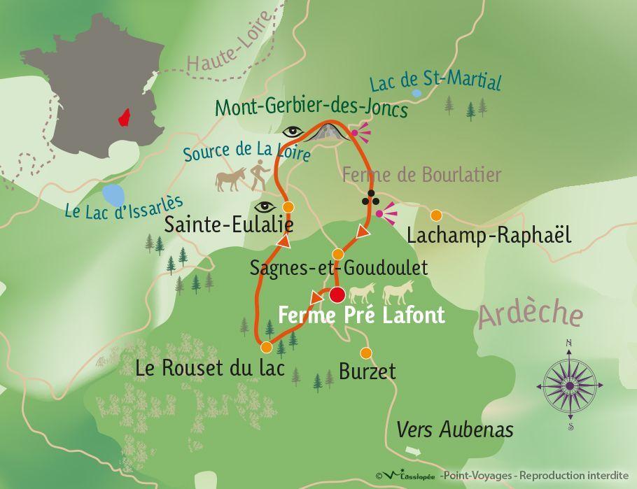 [KEY_MAP] - France - Avec un âne dans les Monts d'Ardèche