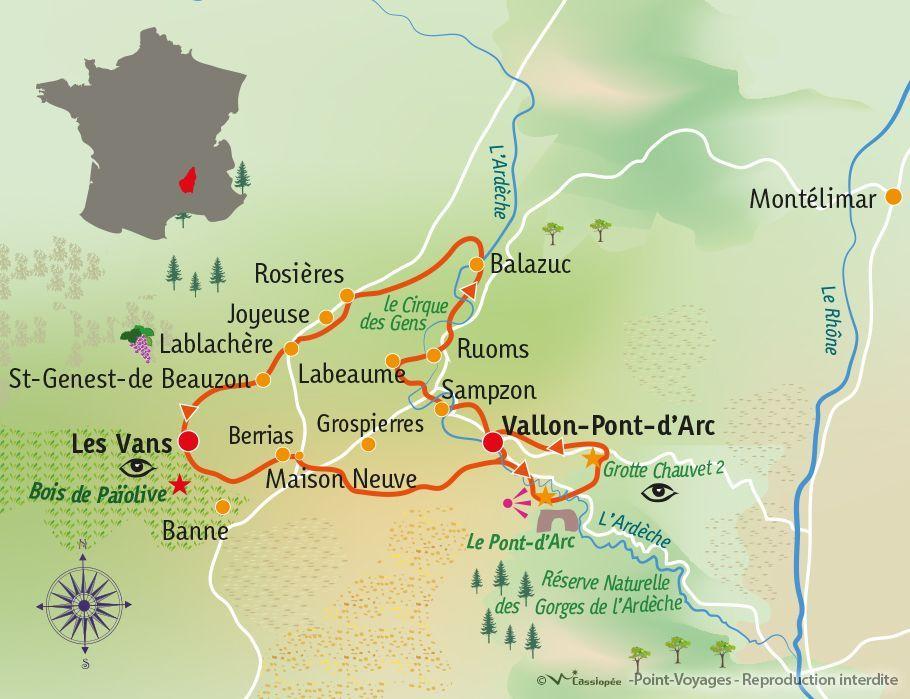 [KEY_MAP] - France - Ardèche méridionale : Grotte Chauvet & Villages de caractère