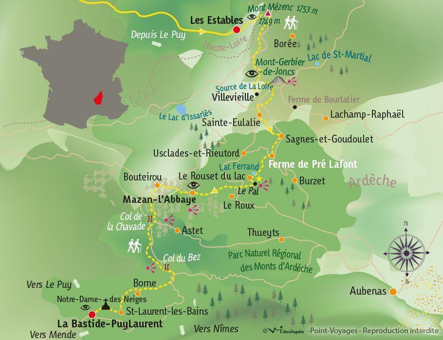 [KEY_MAP] - France - Partage des eaux & GR®7 dans les Monts d'Ardèche
