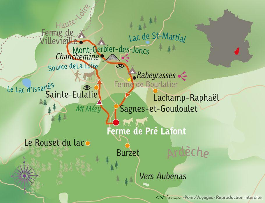 [KEY_MAP] - France - Randonnée, ânes et bivouac en Ardèche !