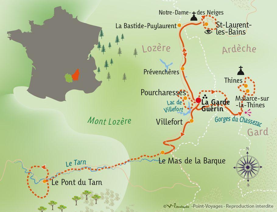 [KEY_MAP] - France - Randonnées cévenoles : entre Ardèche et Lozère