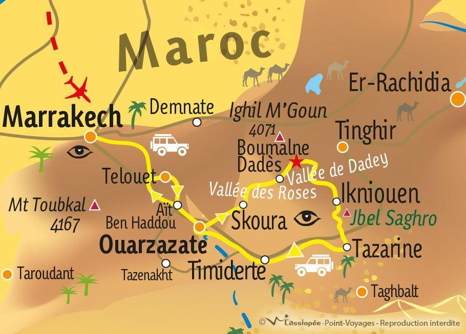 [KEY_MAP] - MAROC - Excursion en 4×4 à travers l'Atlas et différentes régions du Sud