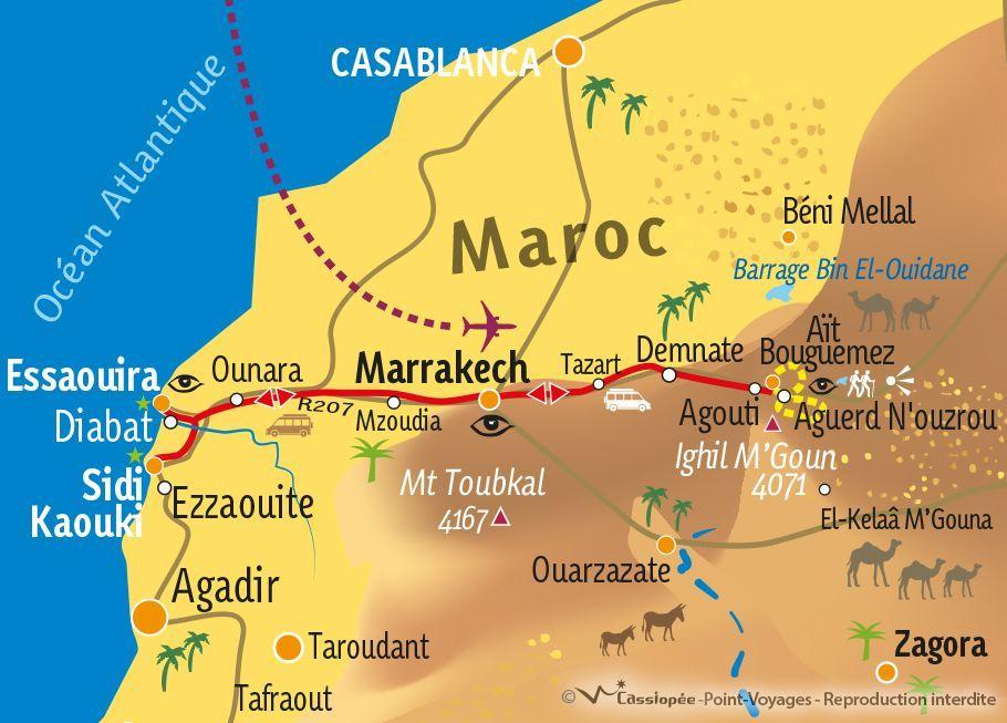[KEY_MAP] - MAROC - randonnée dans les Aït Bouguemez et excursion à Essaouira