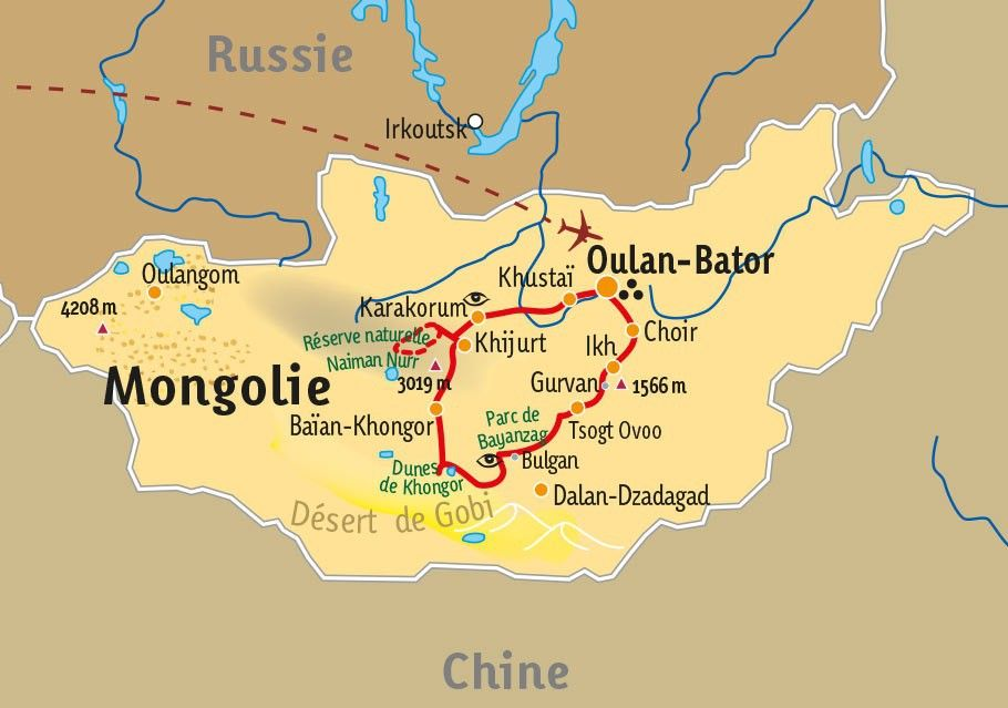 [KEY_MAP] - Mongolie - De l'Arkhangai au désert de Gobi