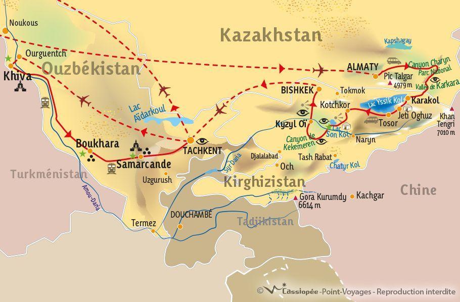 [KEY_MAP] - KAZAKHSTAN KIRGHIZISTAN OUZBEKISTAN - Panorama d'Asie Centrale