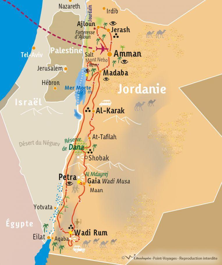 [KEY_MAP] - Jordanie - Petra, chateaux croisés et Wadi Rum