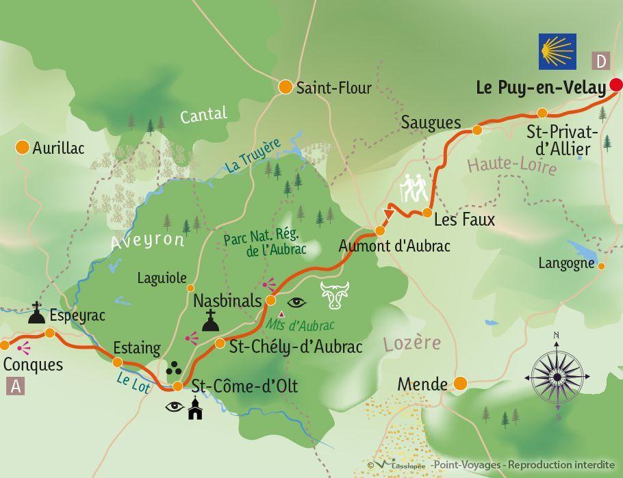 [KEY_MAP] - France - St Jacques de Compostelle : Le Puy en Velay - Conques