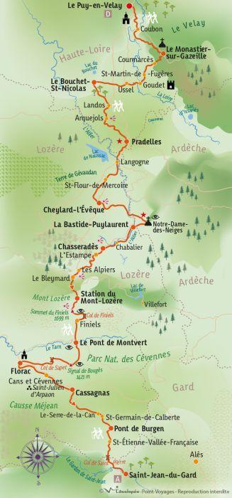 [KEY_MAP] - France - Chemin de Stevenson : Le Puy en Velay - St Jean du Gard