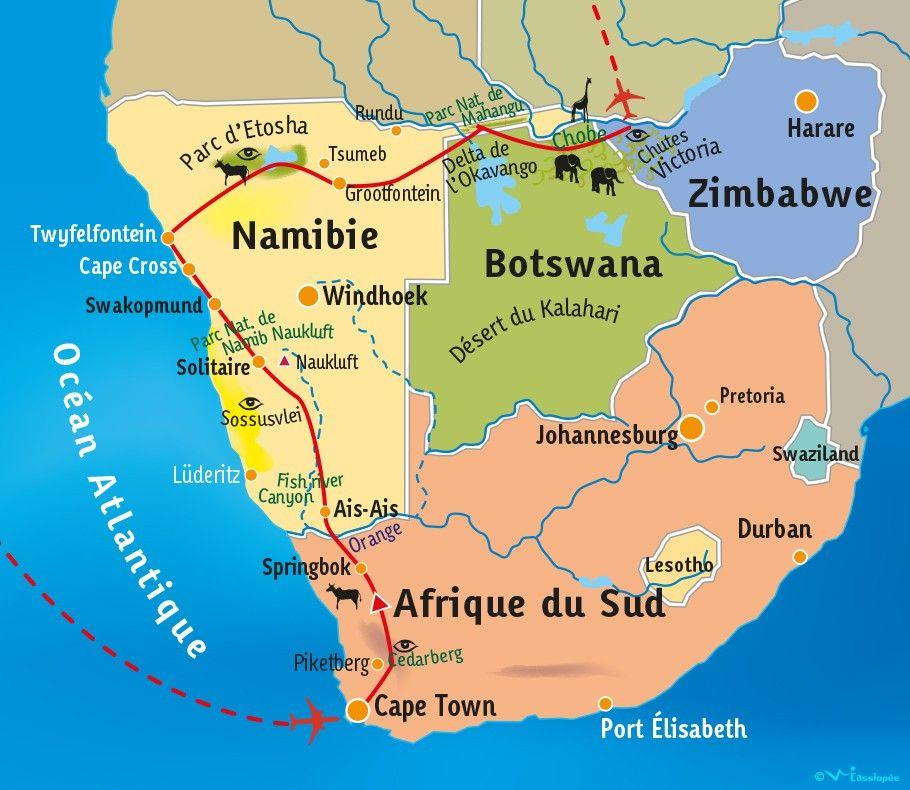 [KEY_MAP] - Af-Sud/Namibie/Botswana/Zimbabwe - Expédition Australe: Du Cap aux chutes Victoria