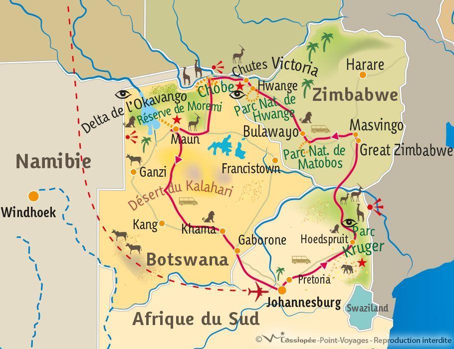 [KEY_MAP] - AF-SUD/ZIMBABWE/BOTSWANA - Okavango, Chutes Victoria et Parc Kruger
