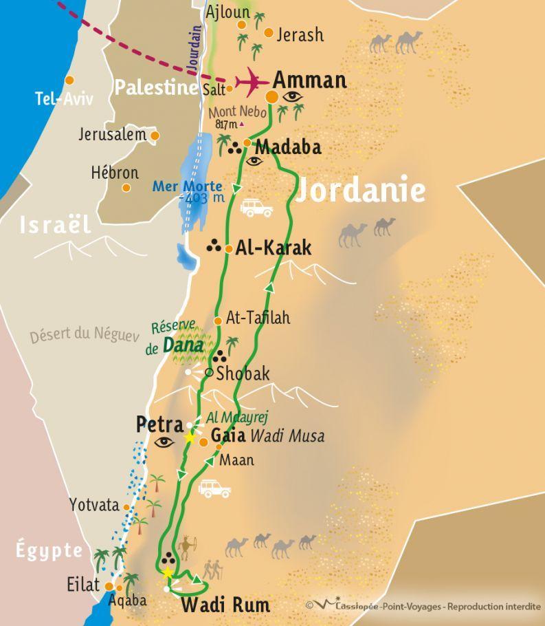 [KEY_MAP] - Jordanie - Randonnée dans le Wadi Rum et Petra