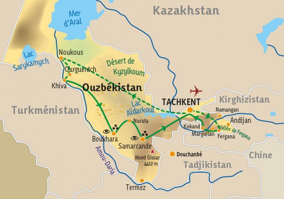 [KEY_MAP] - Ouzbékistan  - Panorama Ouzbek, de la vallée de Ferghana à la mer d'Aral