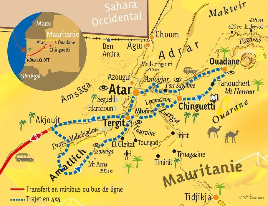 [KEY_MAP] - MAURITANIE - Panorama de l'Adrar en 4x4