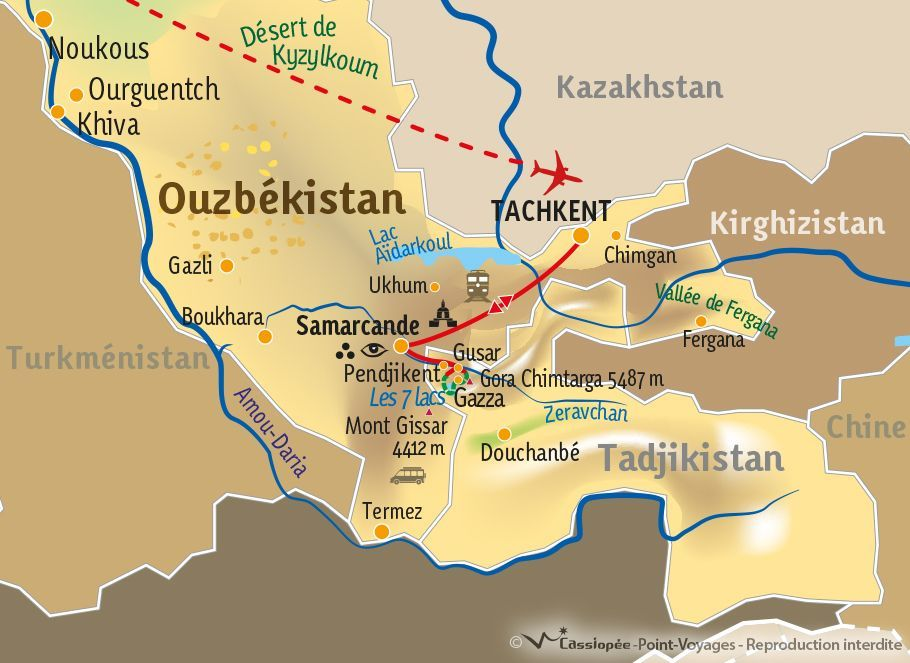 [KEY_MAP] - TADJIKISTAN/OUZBEKISTAN - Des Monts Fanskye à Samarkand
