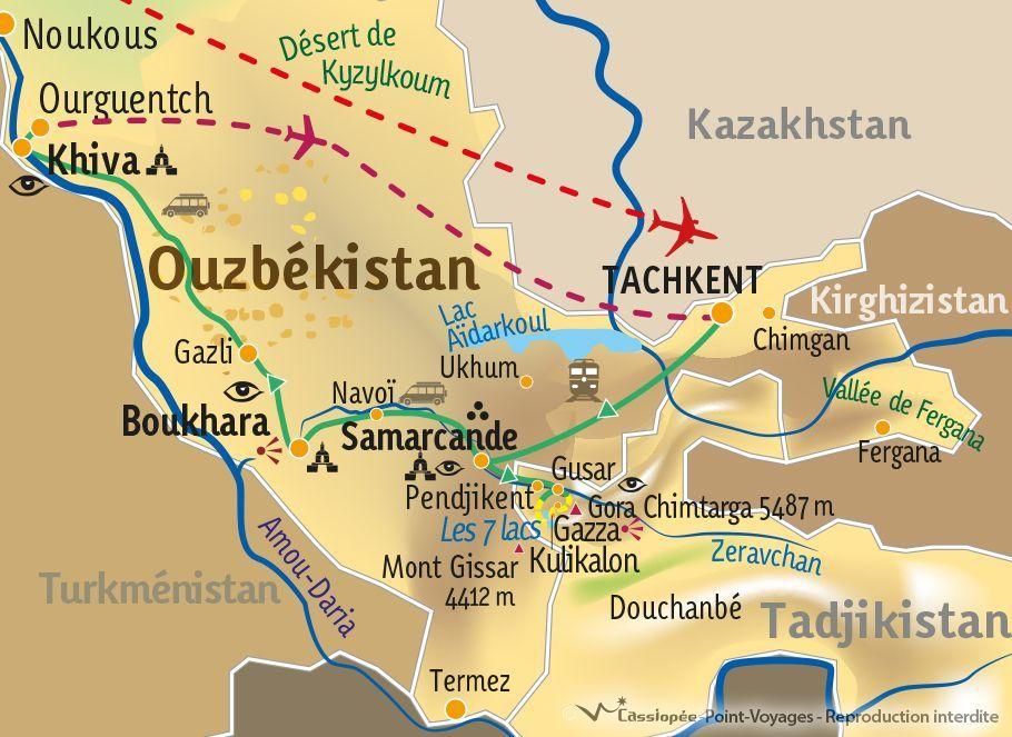[KEY_MAP] - TADJIKISTAN/OUZBEKISTAN - Des monts Fanskye à la route de la Soie