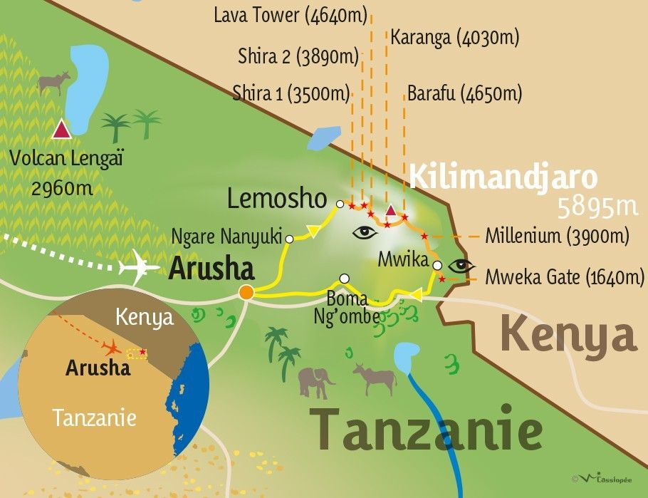 [KEY_MAP] - TANZANIE - Ascension du Kili par la voie Lemosho-Shira