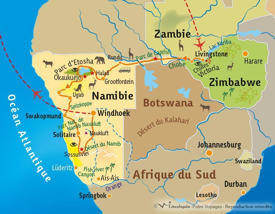 [KEY_MAP] - Zambie/Zimbabwe/Namibie - Panorama d'Afrique Australe
